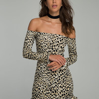 Jazzie Off the Shoulder Dress in Cheetah by Motel