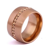Classic Rose Gold-Color Crystal Wedding Ring  Stainless steel Jewelry Ring For Women bijoux