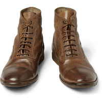 Alexander McQueen - Washed-Leather Boots | MR PORTER