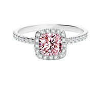 Pink cushion & white round diamonds 2.21 carats anniversary ring solid gold 14K