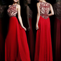 Custom Size Sleeveless Nude Color High Boat Neck with Extensive Crystal Bead Work Formal Evening Red Dresses Long Prom Ball Party Dress