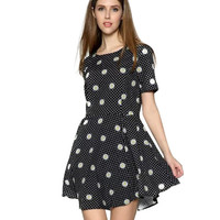 Daisy Printed Short Sleeve Mini Dress