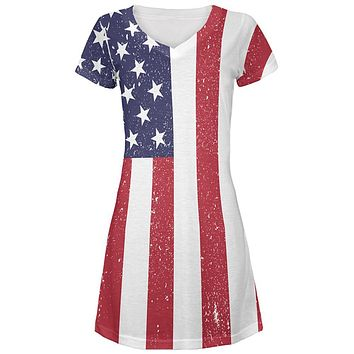 4th of July American Flag Distressed Juniors V-Neck Beach Cover-Up Dress