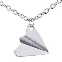 JewelryWe New Fashion Silver Tone Paper Airplane Pendant Necklace Chain Included