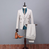 2016 New Arrival Wedding Party Dress Wedding Suits Classic Groom Suit ( Coat+Pants+Vest+Tie) For Men Ivory Groom Wear Tuxedo SU3