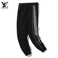 LV Louis Vuitton New fashion monogram print embroidery letter couple pants Black