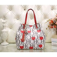CH Carolina Herrera Women Print Leather Shoulder Bag Satchel Tote Handbag Crossbody