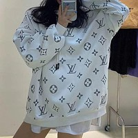 LV Louis Vuitton fashion brand old flower full print loose hooded sweater