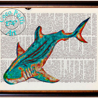 Teal Red Whale Shark Art Beautifully Upcycled Vintage Dictionary Page Book Art Print, Sea Life Print