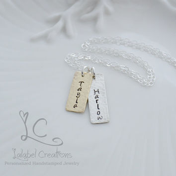Personalized Necklace, Gold and Silver, Hand Stamped Necklace, Name Plate Necklace, Mommy Necklace, Kids Names, Rectangle Tags Necklace