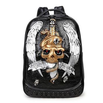 Cool Backpack school 3D Skull Head Element Backpack Cool Daypack for Adults AT_52_3