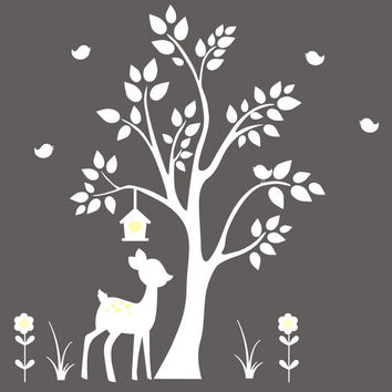 """Forest Wall Decals, Woodland Wall Decals, White Color Style, White Themed Wall Animal Decals, Deer and Tree Wall Sticker - 84"""" x 78"""""""