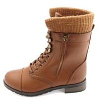 Bamboo Sweater-Lined Lace-Up Combat Boots - Chestnut