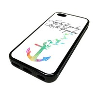 For Apple iPhone 5C 5 C Case Cover Skin Hipster Anchor Birds Watercolor Live The Life You Love California City Life Quotes Teen DESIGN BLACK RUBBER SILICONE Teen Gift Vintage Hipster Fashion Design Art Print Cell Phone Accessories