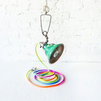 Industrial Mint Clip Clamp Lamp - Hand Dyed Neon Ombre Pastel Rainbow Cloth Color Cord
