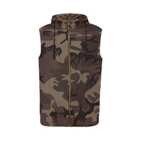 Camo Red Brown All Over Print Sleeveless Zip Up Hoodie for Men (Model H16) | ID: D2068995