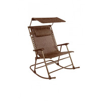Patio Bliss Deluxe Rocking Chair with Canopy - Brown Jacquard