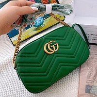 Gucci Marmont camera bag embroidered upper thread detail deerskin lining green