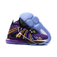 Nike LeBron 17 Lakers Purple Gold White Black Men Basketball Sneaker- Best Deal Online