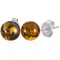 Bling Jewelry Synthetic Amber Ball Stud Earrings Stainless Steel 8mm
