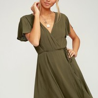 Harbor Point Olive Green Wrap Dress