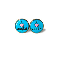 Pastel Goth i heart vodka Earrings - Funny Polka Dot Pop Culture Soft Grunge Jewelry - Party Girl Alcohol Gift