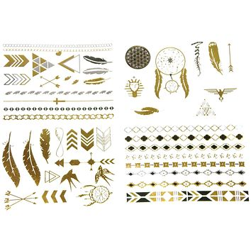 Metallic Temporary Tattoos Gold And Silver Four Sheets Boho Dreamcatchers Feathers Arrows Eagle Necklace Bracelet Upper Arm Band Tattoo