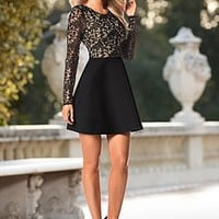 Black & Nude (BKNU) Flared Lace Trim Dress