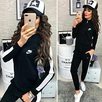 """NIKE"" New Stylish Women Print Long Sleeve Zipper Top Sweater Pants Sweatpants Set Two-Piece Sportswear Black I13685-1"