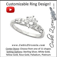 Cubic Zirconia Engagement Ring- The Teri (Customizable 7-stone with Petite Band and Tapered Baguette Accents)