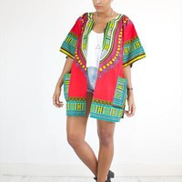 Vintage Style Festival Jacket in Red ethnic Print from House of Jam