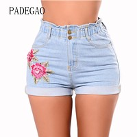 Elastic Waist Mujer Woman Short Fashion Embroidery Flower 2018 Femme Womens Jeans Shorts Ladies Women Denim Summer High Waist