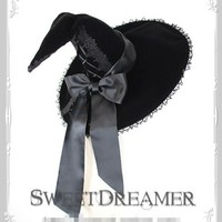 Sweet Dreamer Hallowmas Witch's Velvet Lololita Magic Hat 43.99-Lolita Headdress - My Lolita Dress