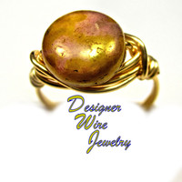 DWJ0300 Stunning Golden Rose Luster Czech Glass Gold Wire Wrap Ring All Sizes