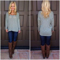 Tabitha Light Knit Sweater Top - OLIVE