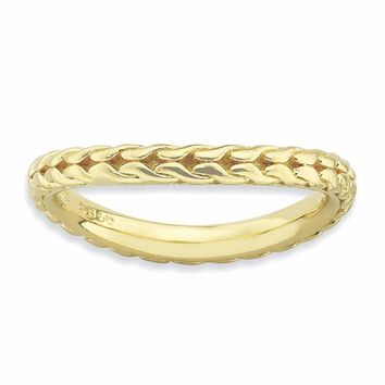 Sterling Silver Stackable Expressions Polished Gold-plated Wave Ring