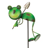 Green Frog Critter with Garden Stake