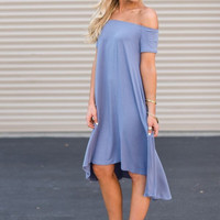 Hi-Low Off-The-Shoulder Dress in Periwinkle