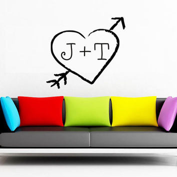 Art Wall Decals Wall Stickers Vinyl Decal Quote - Rustic Heart with Initials - Love Decal