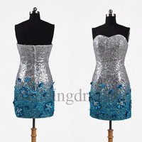 Custom Sequins Beaded Short Formal Prom Dresses Bridesmaid Dresses 2014 Fashion Evening Gowns Party Dress Cocktail Dress Evening Dresses