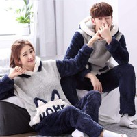 JINUO 2018 Free Shipping Winter Couple Flannel Pajama Sets Lovers Thicken Soft Lovely Animal Pajama Sets Casual Home Wear