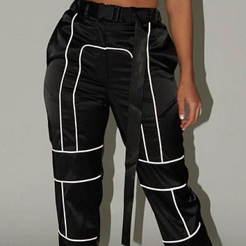 Explosive style hot sale fashion personality beam foot reflective overalls