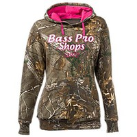 NEW Bass Pro Shops Chenille Logo Camo Hoodie for Ladies