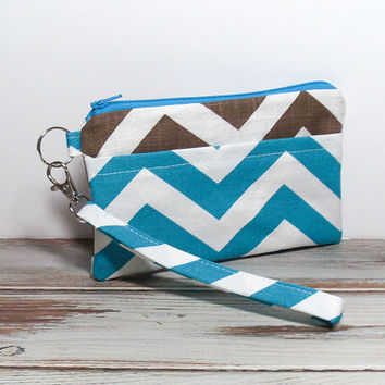 Brown Teal Clutch - Turquoise Clutch - Chevron Phone Clutch - Wristlet Clutch Bag - Zipper Clutch - Clutch for Phone - Blue Brown Clutch