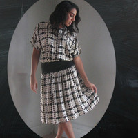 80s SILK Dress s m l one size - Black White GRAY houndstooth - cocktail work play secretary formal - Adrianna Adriana Papell - blousy flare