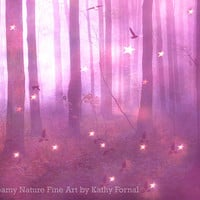 Nature Photography, Dreamy Fantasy Woodlands, Fantasy Stars Birds Trees, Whimsical Child Room Decor, Surreal Pink Nature Photography 8x10