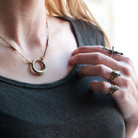Tuareg Gold or silver engraved boho gypsy antique style Morocco inspired Ring Necklace in solid yellow bronze