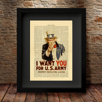 Uncle Sam, Uncle Sam Dictionary Art Print, Uncle Sam I Want You, James Montgomery Flagg, Print on Vintage Dictionary Paper, Dictionary -22