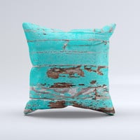 The Turquoise Chipped Paint on Wood ink-Fuzed Decorative Throw Pillow