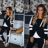 Color Block Long Sleeve Asymmetric Hooded Top and Drawstring Pants